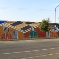 """American Painting"" (Full mural) Acrylic on Concrete, Approximately 70 ft. x 15 ft., 18th Street and S. Oakley, Chicago, IL, 2014"