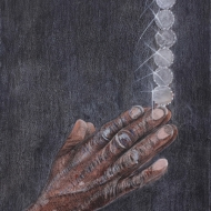 """Eddie's Hands"" Mixed media on paper, 10 x 14 in., 2012"