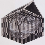 """Scream Box"" Drawing ink and mixed media on paper, 14 1/2 x 10 1/2 in., 2012"