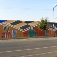 """American Painting"" Acrylic on Concrete, Approximately 70 ft. x 15 ft., 18th Street and S. Oakley, Chicago, IL, 2014"