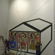 """House"" Acrylic on wall approximately 15 x 30 ft., Pulso: Art of the Americas, Kendall College of Art and Design & Urban Institute for Contemporary Art , Grand Rapids, MI, 2014"