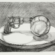 "Ball Gun, Lithograph and Monotype, 22"" x 29"", Edition of 4, 2015"