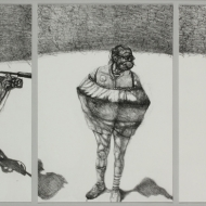 "Spotlight, Lithograph Triptych, 15"" x 18"" Bleed Prints, Edition of 8, The Artist, The Jester, The Siren (from left to right), 2015"