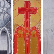 """Jesus Saves"" Acrylic on cardboard, each 12 x 23 in., 2011"