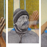 """Black Hope: Poverty and Capitalism"" Mixed media on paper, each 5 x 3 ft., 2009"