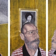 """Activate: Portrait of Salvador Lorenzo Villa"" Triptych, each 4 x 6 ft., Mixed media on paper, 2011"