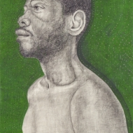 """Portrait of Eddie"" Mixed media on paper, 5 x 3 ft., 2008"