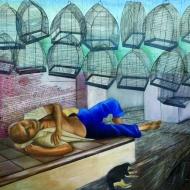 """""""Soy quien, quién soy"""" Oil on canvas, 6 x 6 ft., 2003-2004"""