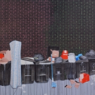 """Landscape: Alley South Ashland & 18th Street"" 7 x 5 ft. Acrylic on canvas, 2012"