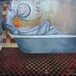 """La tina"" Oil on canvas, 6 x 5 ft., 2001"