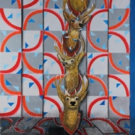 "Gabriel Villa ""TOTEM"" Mixed media on paper Approx. 3.5 x 4 ft. 2012"