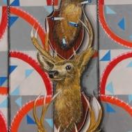 "Gabriel Villa ""TOTEM"" Mixed media on paper Approx. 3.5 x 4 ft. 2012"